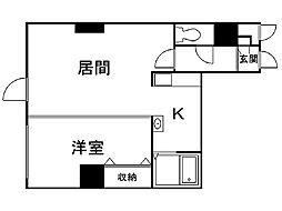 パークヒルズイースト23A 11階1LDKの間取り