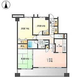藤ヶ丘シティハウス・リーフコート[2階]の間取り