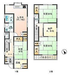 [一戸建] 兵庫県神戸市垂水区歌敷山3丁目 の賃貸【/】の間取り
