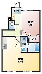 メゾン ド フルール[1階]の間取り