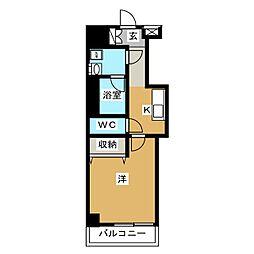 シリウス・エム 5階1Kの間取り