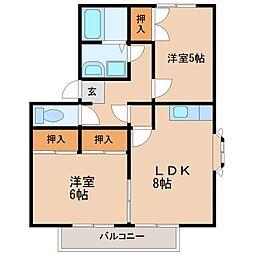アメニティ・サンA[1階]の間取り