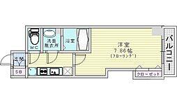 Osaka Metro谷町線 都島駅 徒歩8分の賃貸マンション 2階1Kの間取り