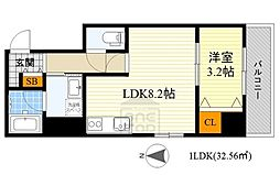 アンフィニ15江坂レジデンス 3階1LDKの間取り