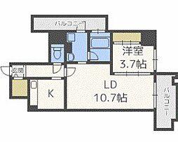 ザ・クロスメント 8階1LDKの間取り