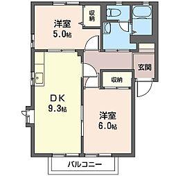 プラザハイツA・B・C・D[1階]の間取り