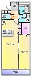 ドミソレイユ2[3階]の間取り