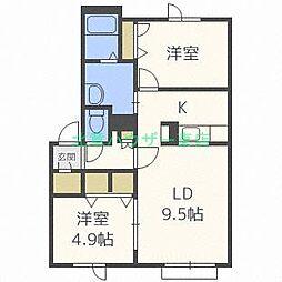 北海道札幌市東区北二十五条東20丁目の賃貸アパートの間取り