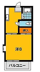栃木県宇都宮市城東2丁目の賃貸アパートの間取り