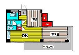 蕨北野マンション[1階]の間取り