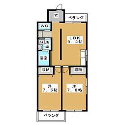 サンライズ白鳥[4階]の間取り