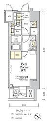 ザ・クラス南麻布 9階ワンルームの間取り