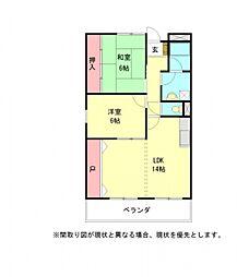 愛知県一宮市西大海道字新田前の賃貸マンションの間取り