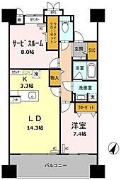 東京メトロ日比谷線 南千住駅 徒歩9分の賃貸マンション 10階2LDKの間取り