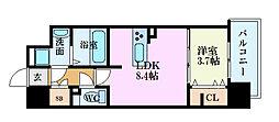 広島電鉄5系統 段原一丁目駅 徒歩17分の賃貸マンション 6階1LDKの間取り
