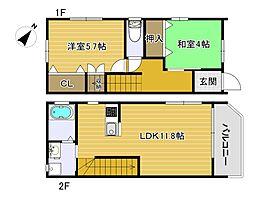 静岡鉄道静岡清水線 桜橋駅 徒歩33分の賃貸アパート 1階2LDKの間取り