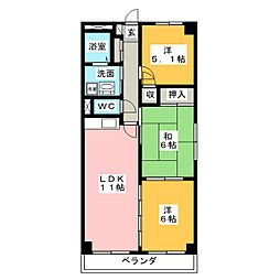 クレアージュ小田[1階]の間取り