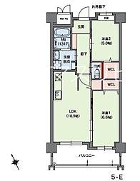 クラシオン小笹山手5番館 5階2LDKの間取り
