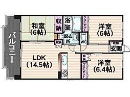 博多シティー袖乃浦[3階]の間取り