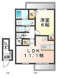 JR湖西線 安曇川駅 徒歩4分の賃貸アパート 2階1LDKの間取り