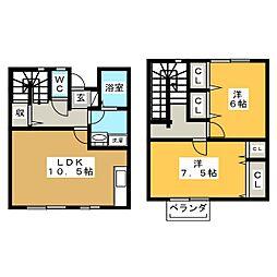 [テラスハウス] 栃木県宇都宮市御幸町 の賃貸【/】の間取り
