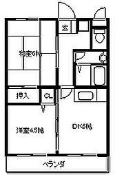 大阪府八尾市中田4丁目の賃貸マンションの間取り