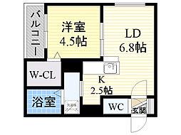 北海道札幌市東区北33条東13丁目の賃貸マンションの間取り
