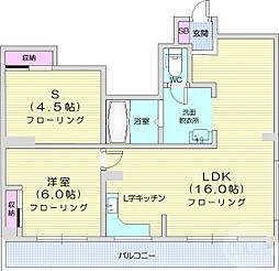西公園ビル 3階2LDKの間取り