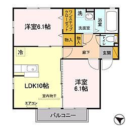 埼玉県北本市宮内3丁目の賃貸アパートの間取り