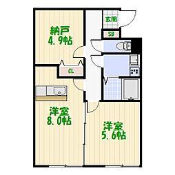 東京都足立区谷中1丁目の賃貸アパートの間取り