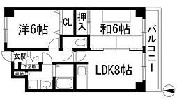 兵庫県宝塚市御殿山2丁目の賃貸マンションの間取り