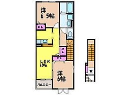 愛媛県松山市森松町の賃貸アパートの間取り