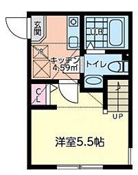 JR横浜線 橋本駅 徒歩14分の賃貸アパート 1階1Kの間取り