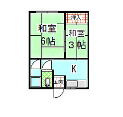 山本文化[105号室]の間取り