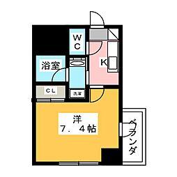 ヴィークブライト名古屋東別院 7階1Kの間取り
