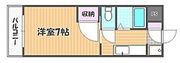 岡山県岡山市北区南中央町の賃貸マンションの間取り