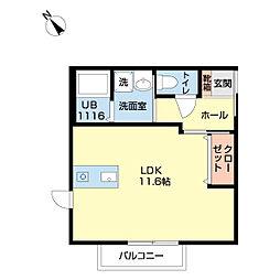 アルバトロス成田2 1階ワンルームの間取り