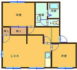 ラフォーレ朝倉 A202号室[2LDK号室]の間取り