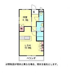 愛知県一宮市浅井町西海戸字東屋敷の賃貸マンションの間取り