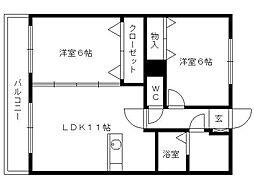 Dearcort kawanami[3階]の間取り