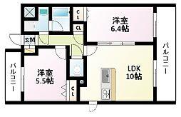 Osaka Metro御堂筋線 東三国駅 徒歩4分の賃貸マンション 5階2LDKの間取り