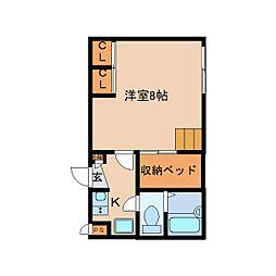 JR和歌山線 畠田駅 徒歩2分の賃貸アパート 2階1Kの間取り