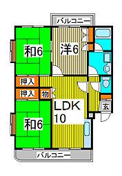 第一富田マンション[302号室]の間取り