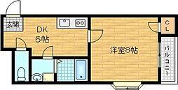 ラフォーレ 3階1Kの間取り