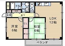 エスティヴァン武庫之荘[306号室]の間取り