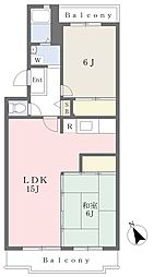 JR東北本線 土呂駅 徒歩10分の賃貸マンション 3階2LDKの間取り