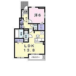 JR宇部線 東新川駅 バス11分 開下車 徒歩1分の賃貸アパート 1階1LDKの間取り