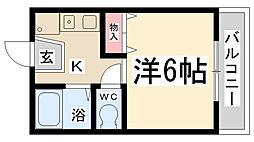 フラワーハイツ新伊丹[205号室]の間取り