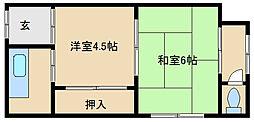 大阪府東大阪市御幸町の賃貸アパートの間取り