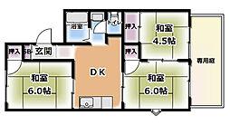 KサンハイツB棟[B102号室]の間取り